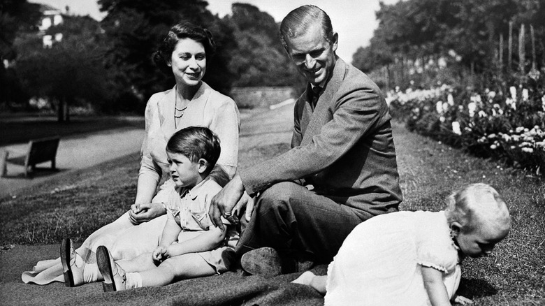 Queen Elizabeth and Prince Philip with Charles and Anne