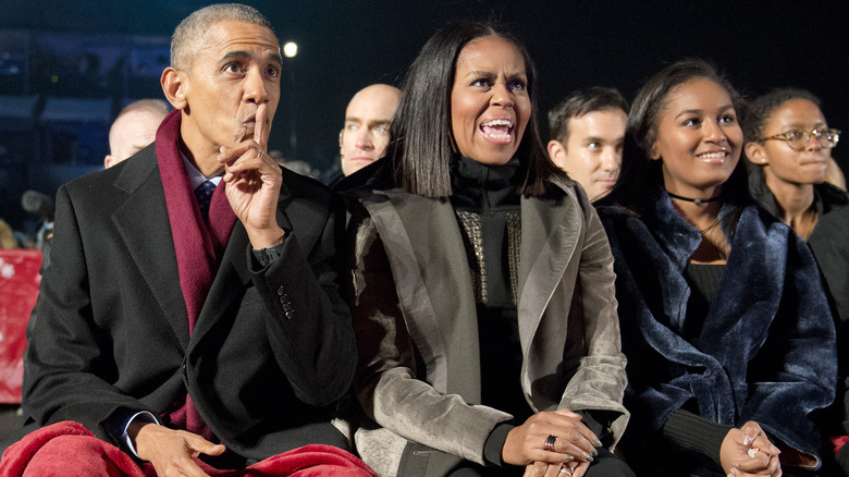 Barack, Michelle, and Sasha Obama