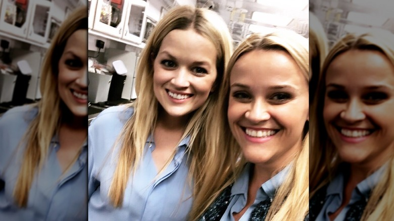 Reese Witherspoon with hair down and body double Marilee Lessley
