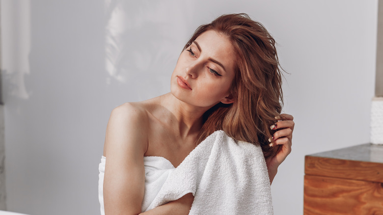 Woman after morning shower
