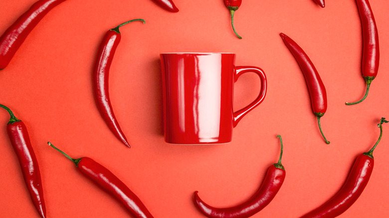 Mug with cayenne peppers