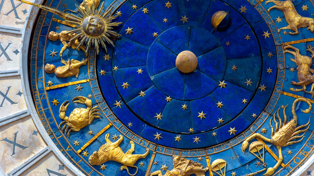 Blue and gold astrological houses