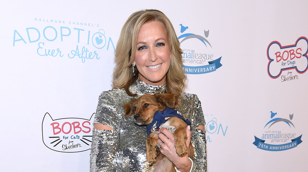 Lara Spencer with her dog on the red carpet