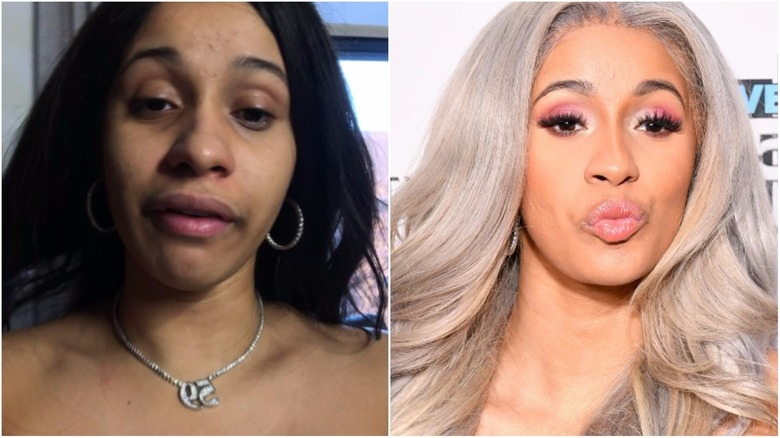 Cardi B split image no makeup