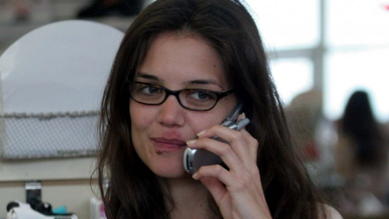 Katie Holmes with cold sores no makeup