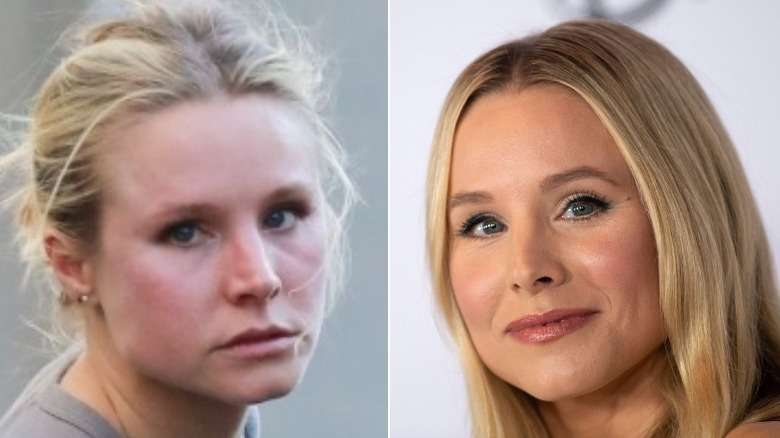 Kristen Bell without and with makeup