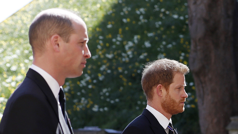 William and Harry at the funeral of Prince Phillip