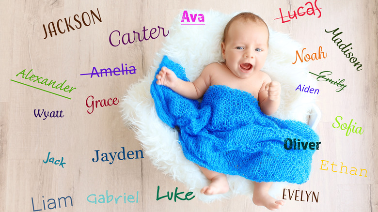 Baby with list of names