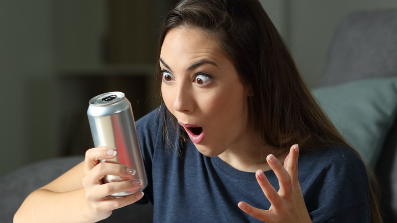 Woman shocked by energy drink