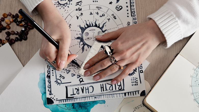 astrologer drawing a birth chart