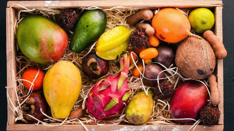 exotic fruits in a box