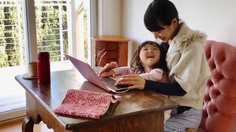 Marie Kondo and daughter in home office