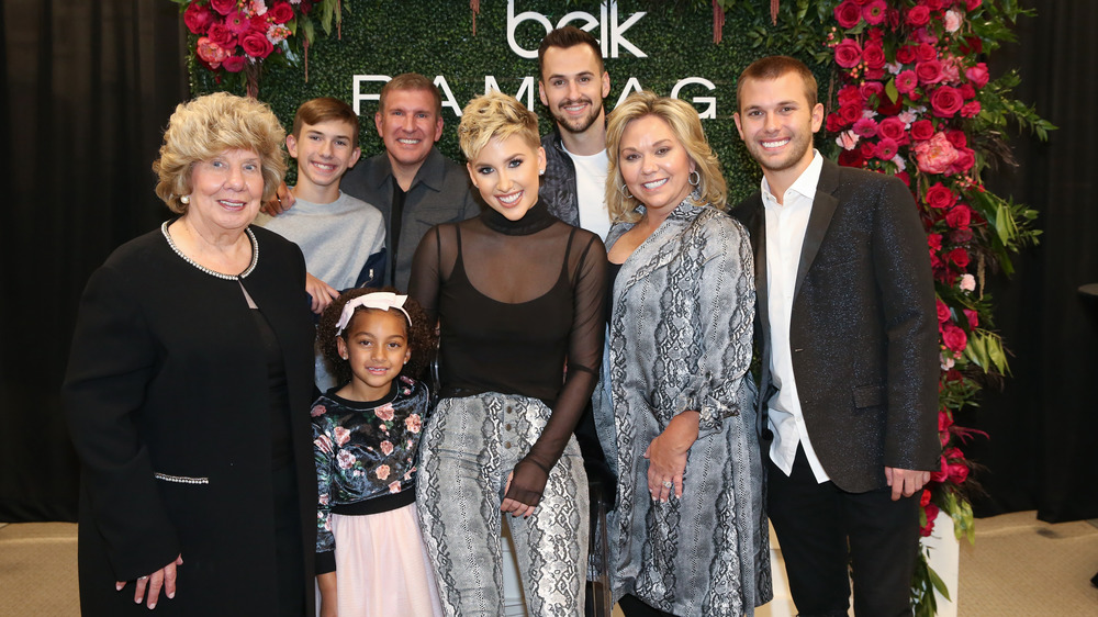 Faye Chrisley, Chloe Chrisley, Savannah Chrisley, Julie Chrisley, Chase Chrisley (L-R Back row) Grayson Chrisley, Todd Chrisley and Nic Kerdiles at Cool Springs Galleria Mall 2019