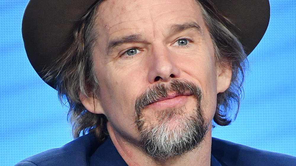 Ethan Hawke on set