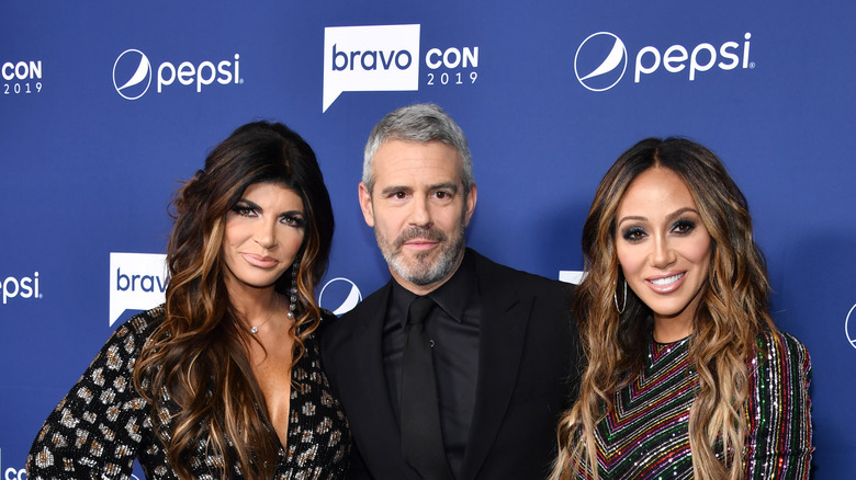 Teresa Giudice, Andy Cohen, and Melissa Gorga at BravoCon