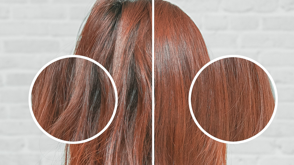 Hair before-and-after keratin treatment comparison