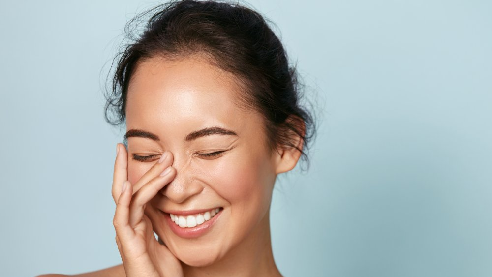 Smiling woman with a clean face