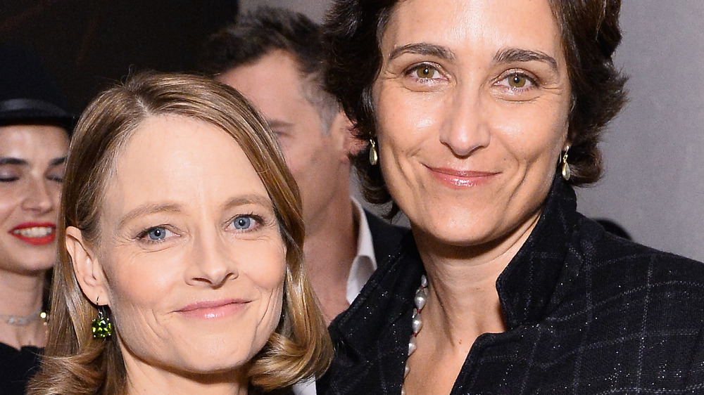 Jodie Foster smiles with wife Alexandra Hedison