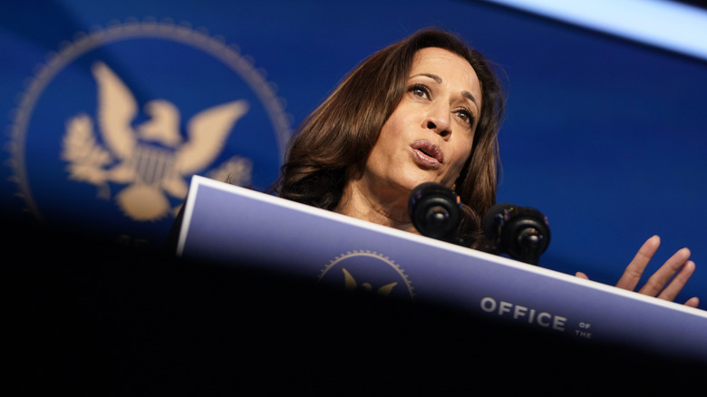 Kamala Harris speaks from podium