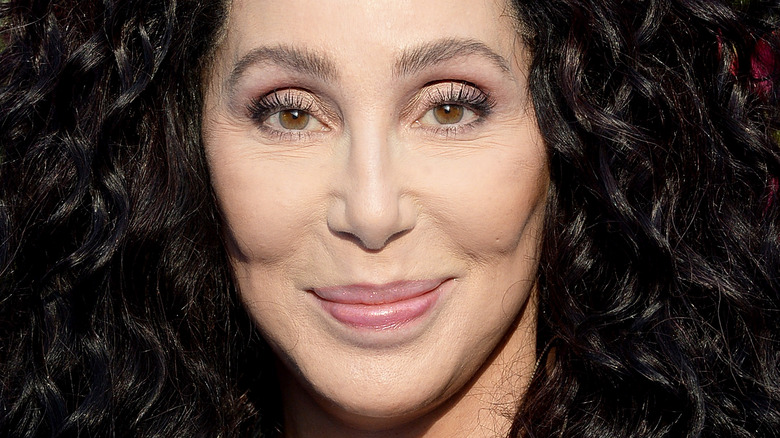 Cher posing with curly hair