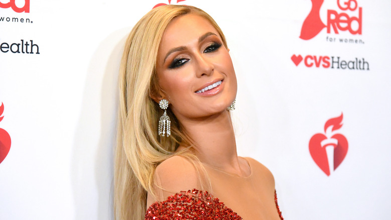Paris Hilton attends The American Heart Association's Go Red for Women Red Dress Collection 2020.