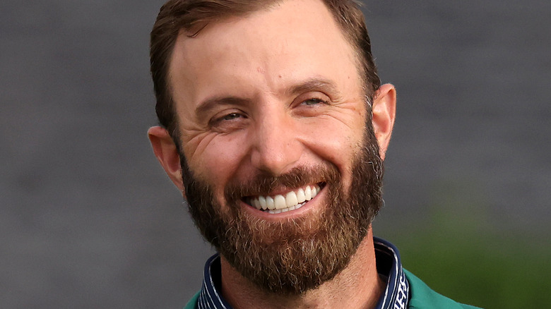 Dustin Johnson in his Masters' jacket