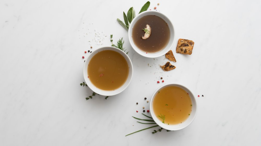 three bowls of bone broth