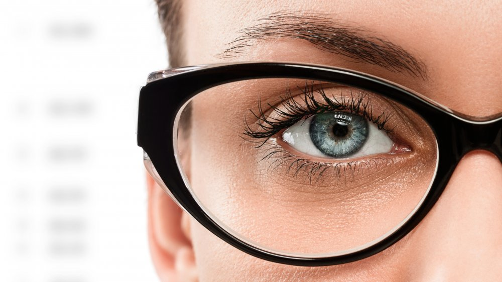 close up of a woman's eye with glasses