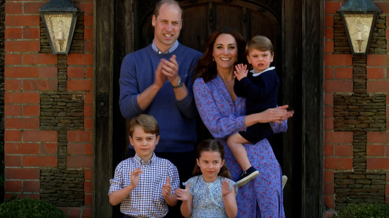 Prince William and Kate Middleton with their children at Kensington Palace